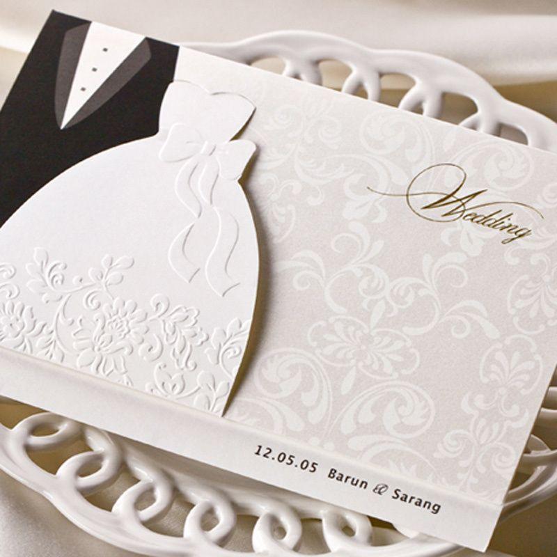 Chic Tuxedo & Bride Dress Free Printing Wedding Invitations Cards ...