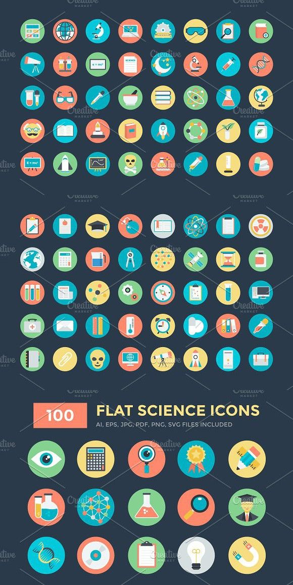100 Flat Science Icons Science icons, Vector icons, Text