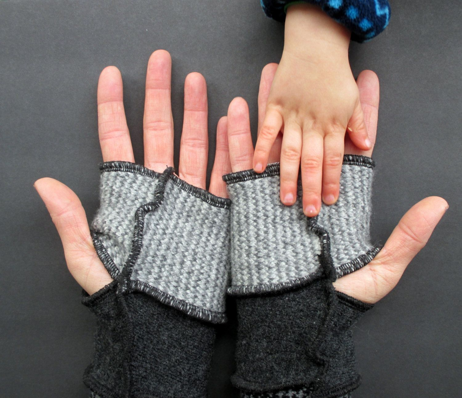 Fingerless Gloves Arm Warmers Wool Unisex Gypsy Gauntlets Upcycled Clothing Recycled Wool Sweaters by ThankfulRose on Etsy