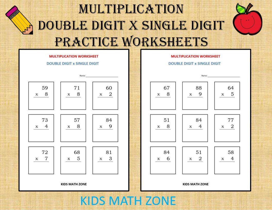 Multiplication Double Digit X Single Digit 10 Worksheets