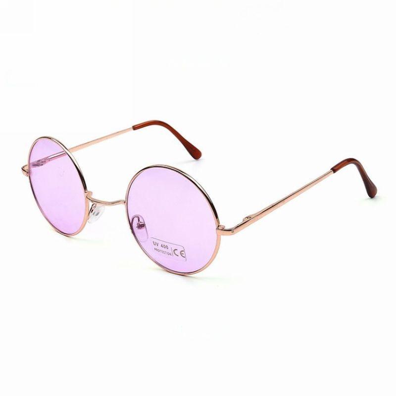 4d8b681c8 Round Circular Gold-Tone Metal Frame Sunglasses Transparent Purple Lens