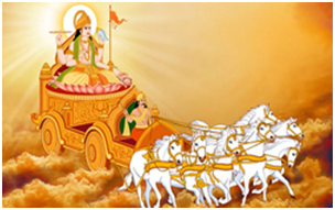 Hindu God of the Sun, Surya, in his chariot drawn by seven white horses