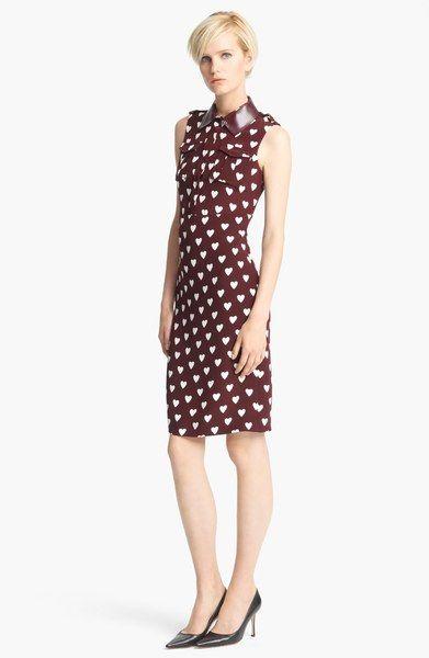 c7a780fd366 Burberry Heart Print Mulberry Silk Shirt dress - Lyst