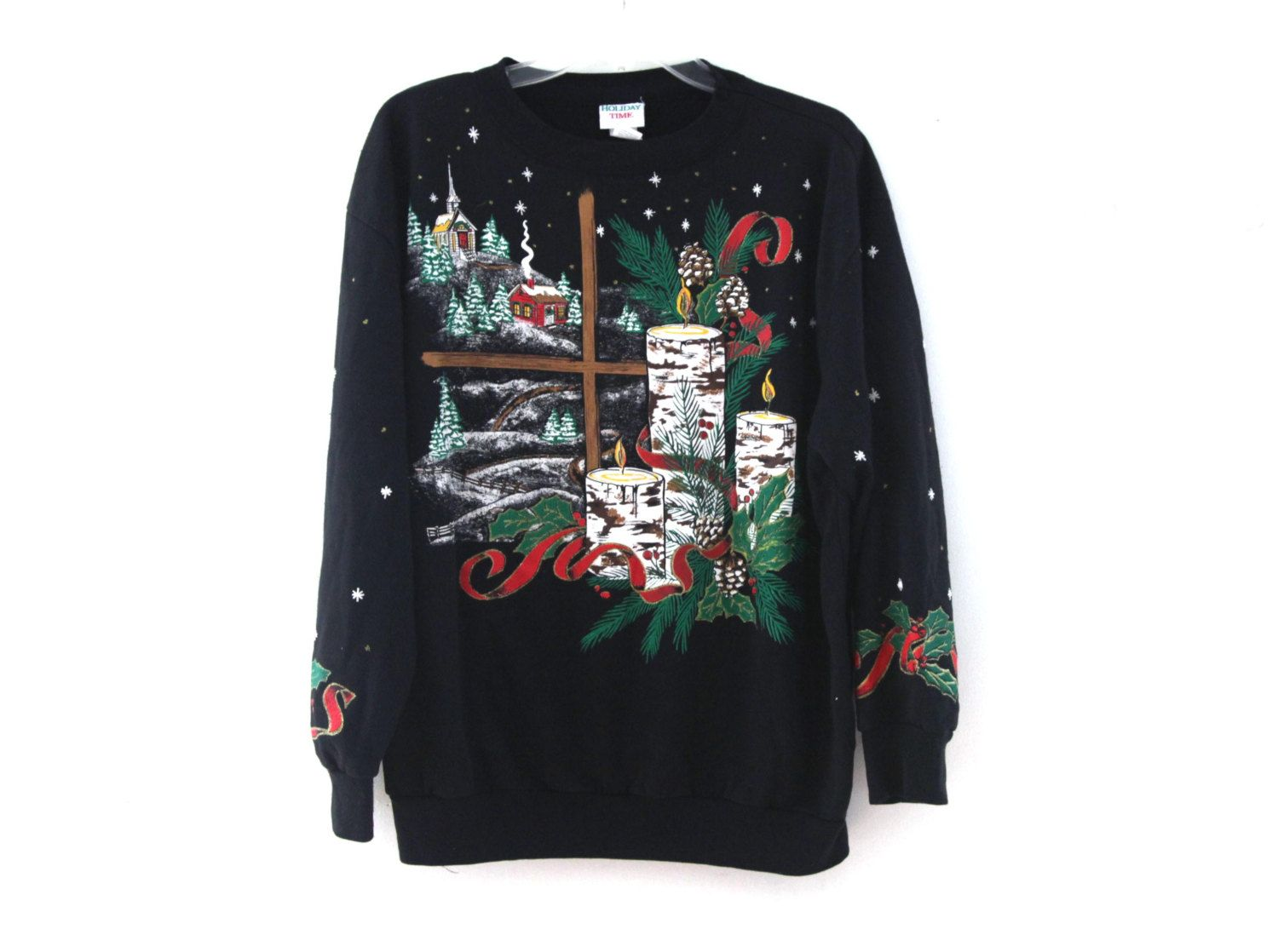 39ef7c8d649e Vintage 80s Christmas sweater sweatshirt puffy paint ugly cute | 80s ...