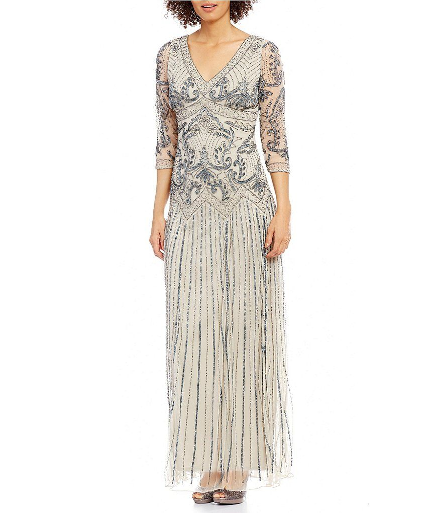 Fine Pisarro Nights Dress Three Quarter Sleeve Beaded Gown Crest ...
