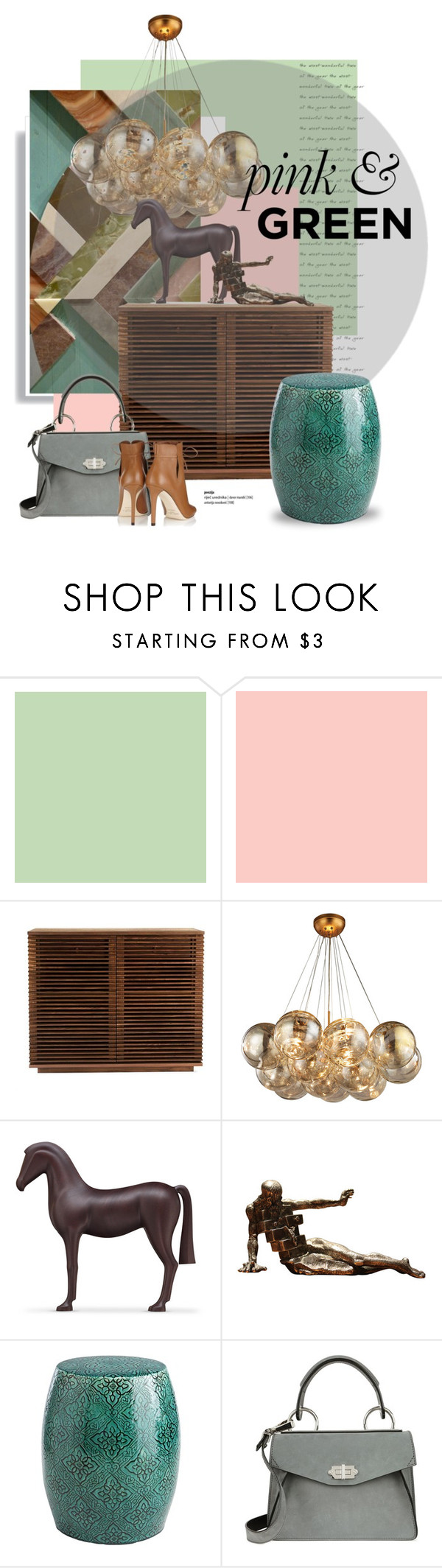 """""""Pink & green..."""" by gloriettequartet ❤ liked on Polyvore featuring interior, interiors, interior design, home, home decor, interior decorating, Budri, Salvador Dali, Pier 1 Imports and Proenza Schouler"""
