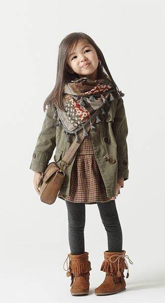 little girls fall winter dress jacket coat fringe boots scarf ...