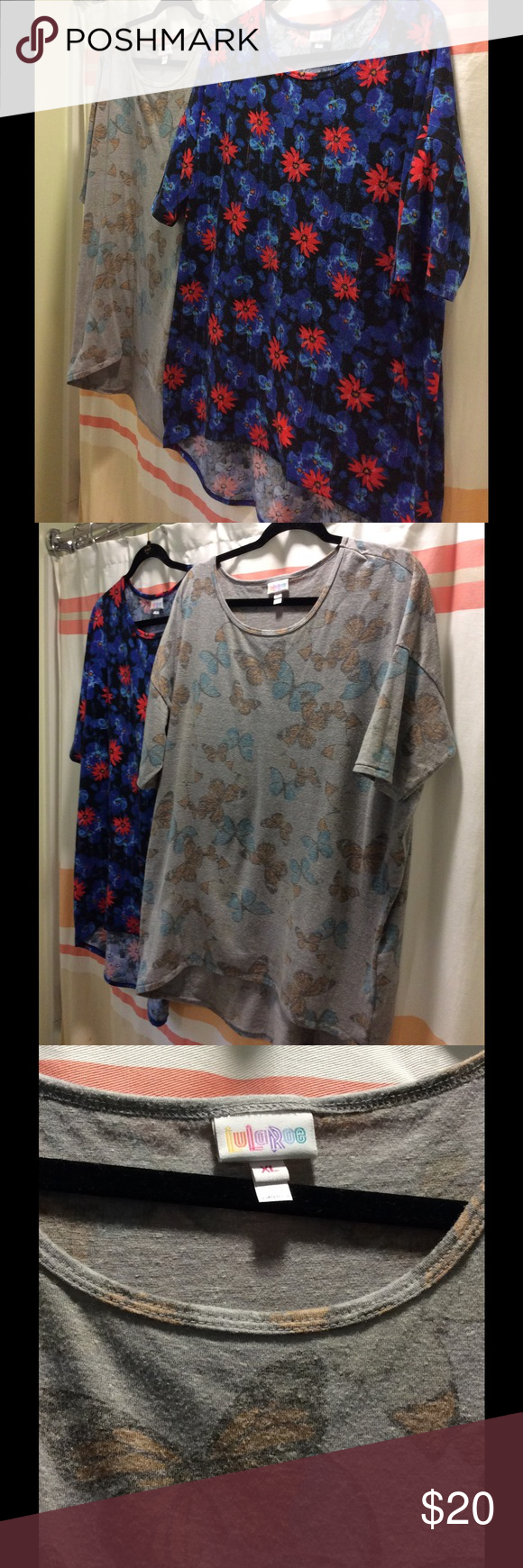 LuLaRoe Irma x 2 2 Irmas for the price of 1! Well loved Irmas, used condition. Thee is some pilling (see photos). They have been washed according to LLR instructions and worn a number of times. Still super soft and comfy! Floral is size L, Butterflies XL. LuLaRoe Tops Tunics