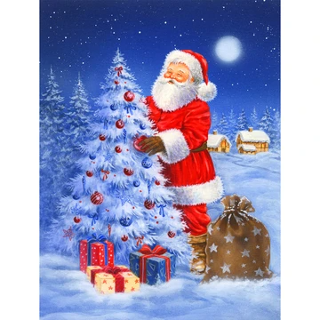 5d Diamond Painting Christmas Tree And Santa Claus Night Paint With Diamonds Art Crystal Craft Decor In 2020 Christmas Tree Painting Santa Claus Christmas Tree Diamond Painting
