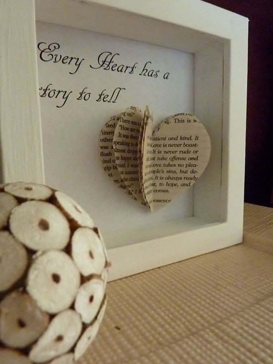 DIY Frame & Paper Heart. Oh I love this! With favorite romantic parts of books!!