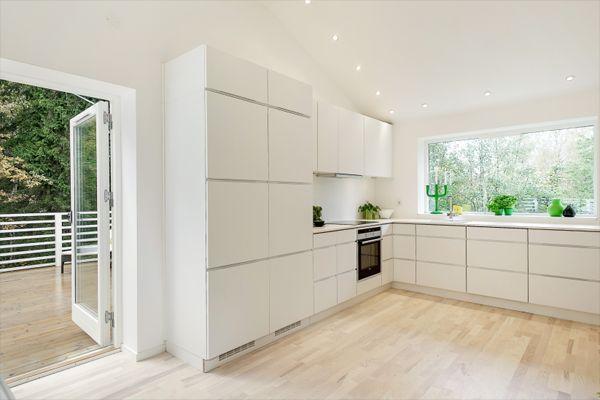 Modern White Kitchen Wood Floor modular-white-kitchen | scandinavian kitchen, scandinavian and