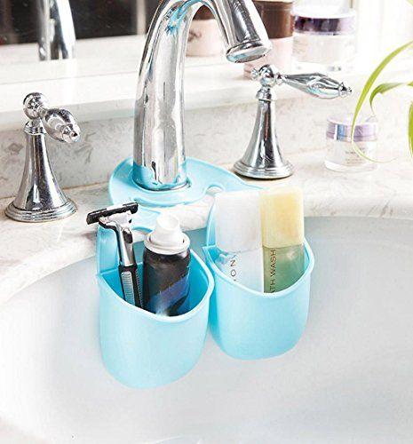Mikey Store Convenient Kitchen Gadget Organizer Sponge Holder Sink Holder Soap Dish Soap Holder(Blue)