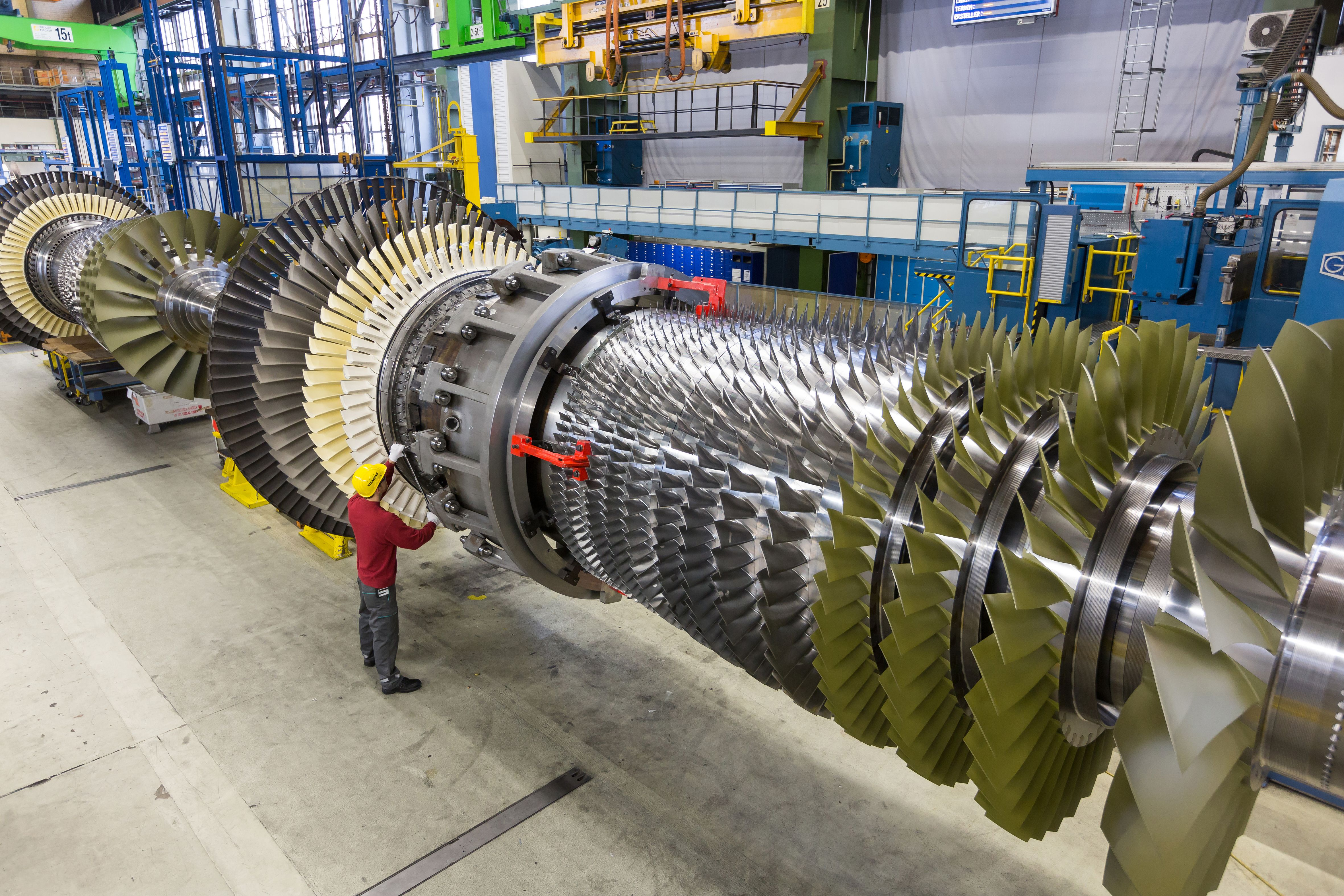 SGT58000H gas turbine in the Siemens assembling halls in