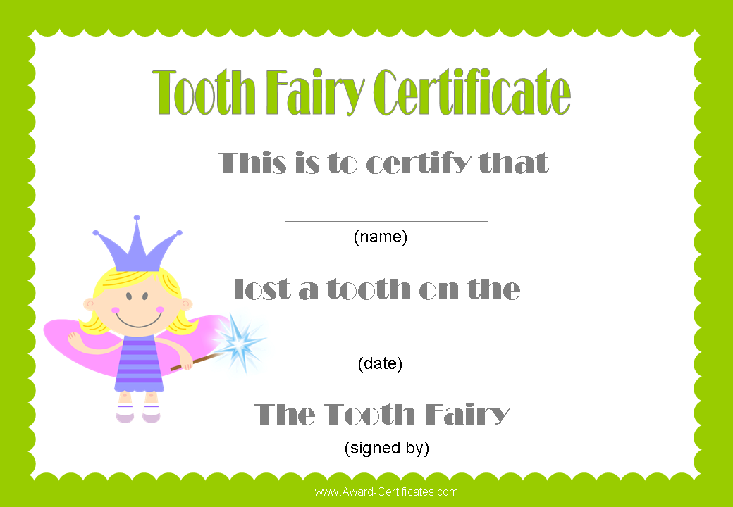 Has your child just lost a tooth dont forget to reward them for tooth fairy certificates other certificates yelopaper Image collections