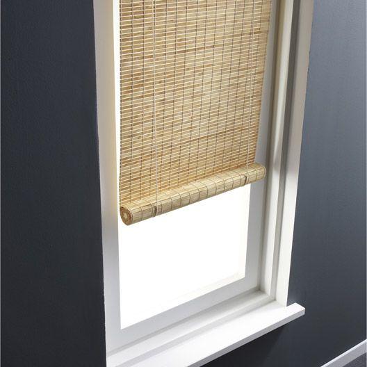 Store enrouleur tamisant bois tissé, naturel clair, 80x180 cm - store enrouleur screen interieur