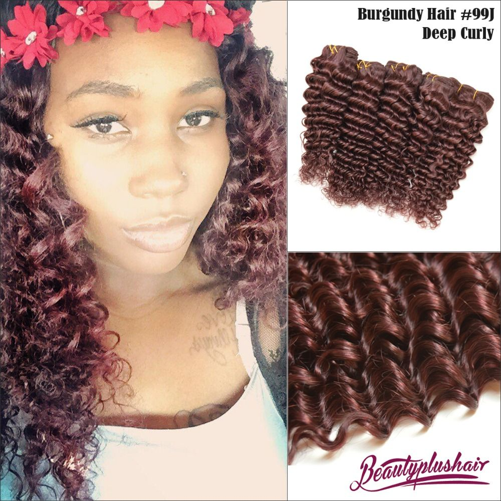 6a Red 99j Brazilian Remy Hair Deep Curly Hair Extensions 3 Pcslot