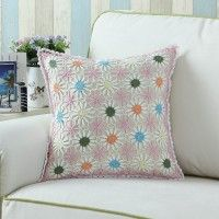 Euphoria Home Decor Cushion Cover Pillow Shell Cotton Handmade Crochet Knitting Needles Multi-Color Flower Chain 43x43cm