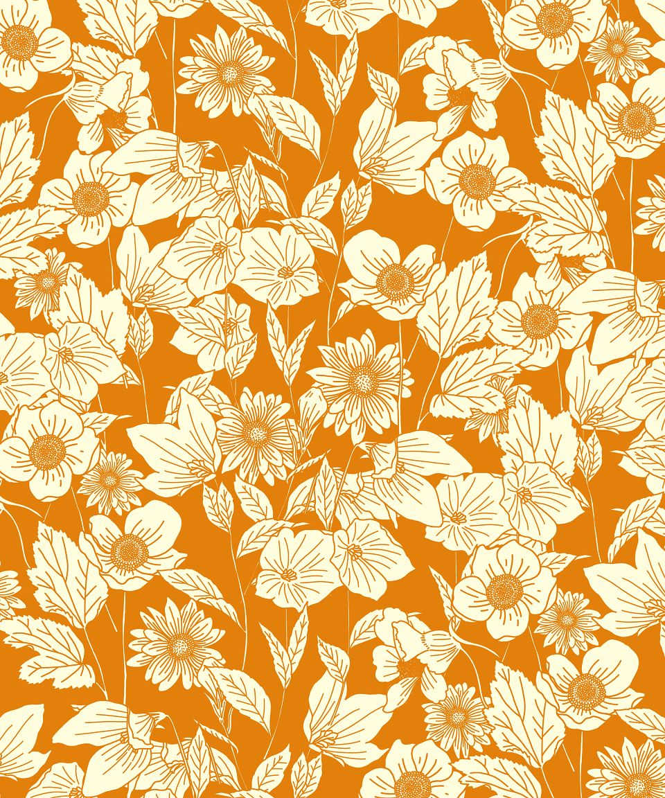 floral, simple, one colour, design, traditional, flowers