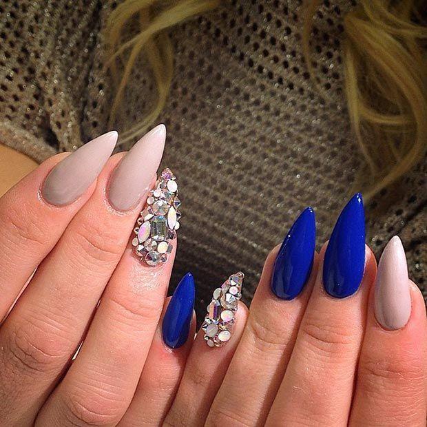 Blue Nude Rhinestones Stiletto Nail Design