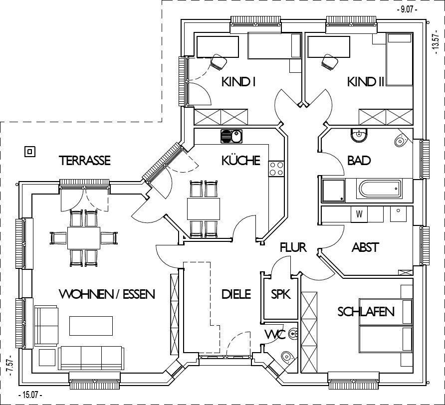 Winkelbungalow Grundriss Erdgeschoss mit 132 m² Wohnfläche