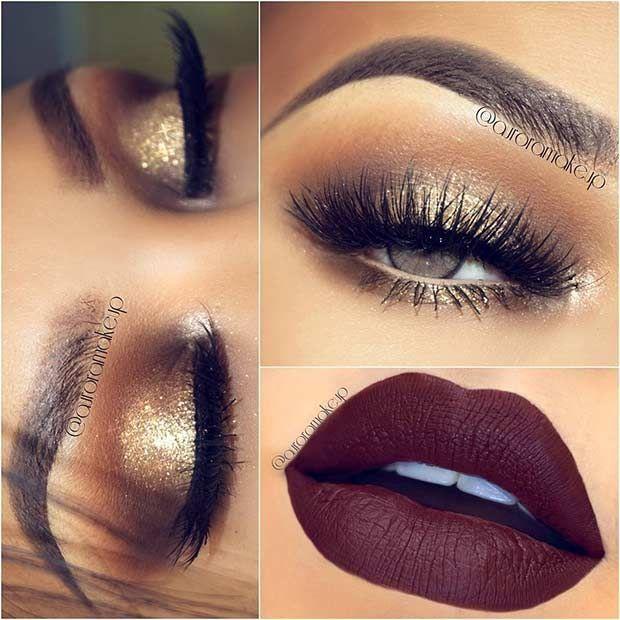 23 Christmas Makeup Ideas to Copy This Season   Party makeup ...