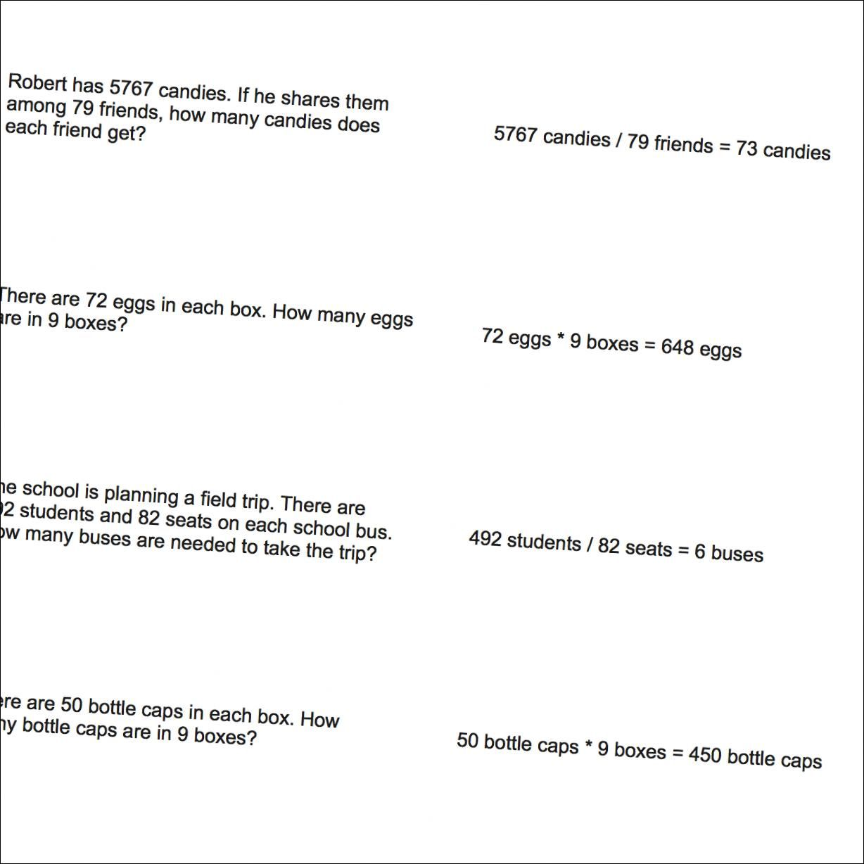 Math Worksheets Mixed Operation Word Problems