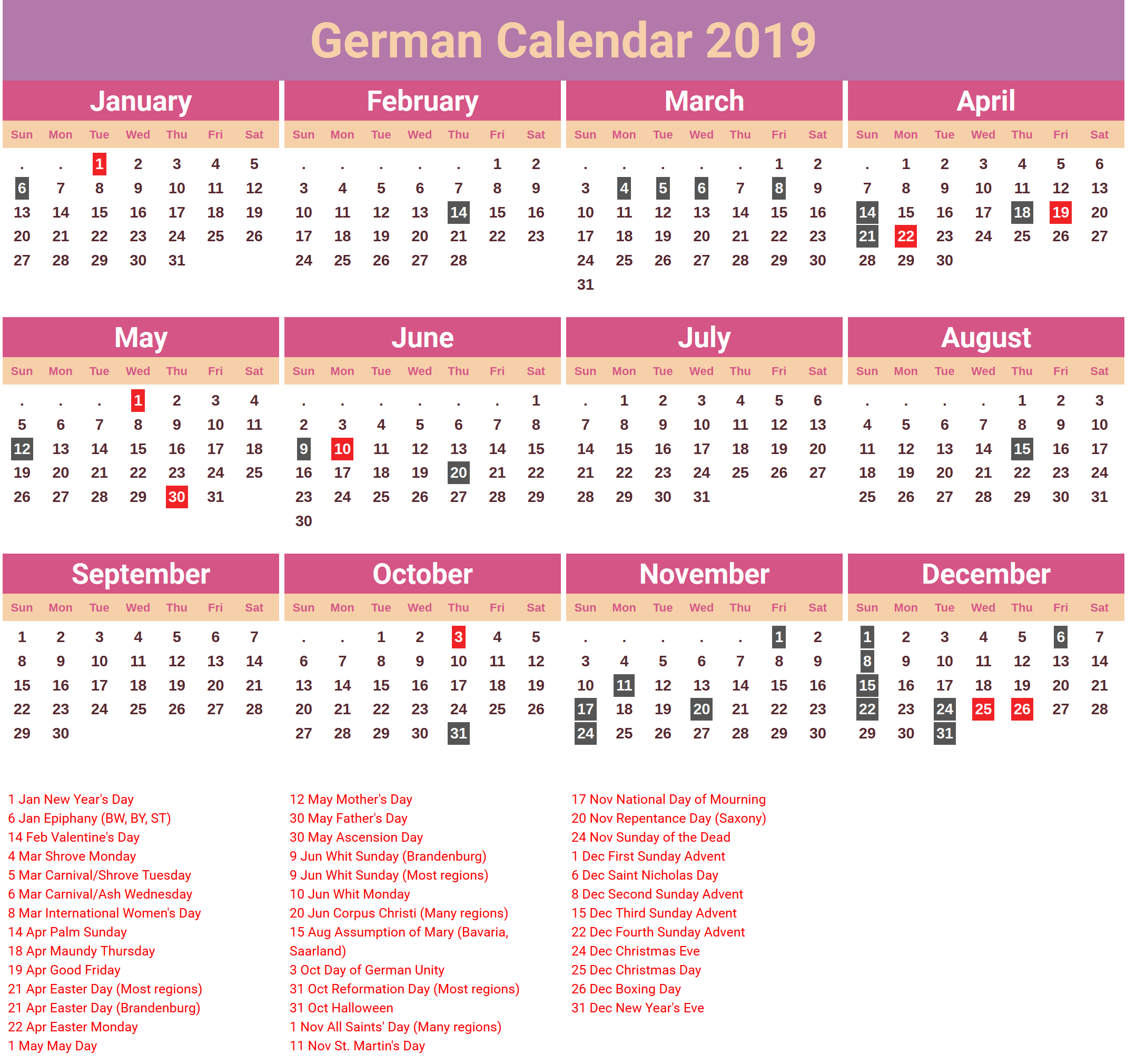 germany 2019 holidays calendar in 2019