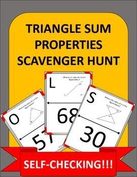 Triangle Sum Property Scavenger Hunt The Math Factory Math Math