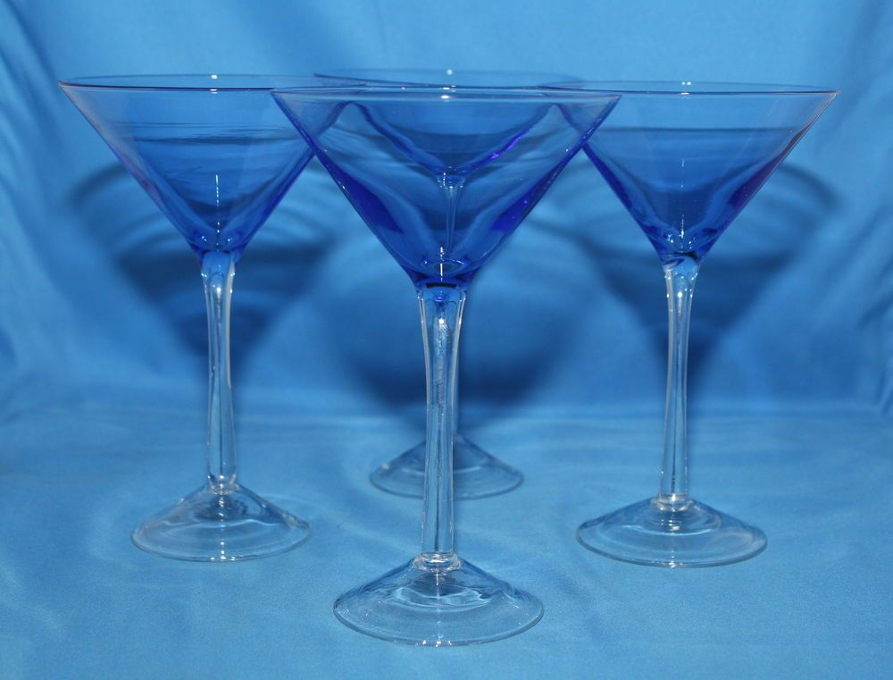 Lot of 4 Cobalt Saphire Blue Martini Glasses Long Clear Stems      http://autopartspuller.com/ Great Sale 50% off entire store!! Copper, Glassware, Wood Crafts, Scrap Booking   Also Find us on:  http://hometownvintage.com http://autopartspuller.com @HomeTownVintage @autopartspuller @preppershowto http://facebook.com/hometownvtg http://facebook.com/AutoPartsPuller