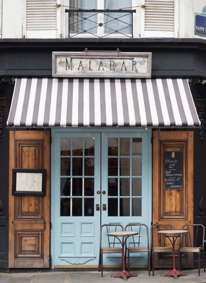 paris cafe photograph malabar cafe large wall art french kitchen decor striped awning blue door travel photograph