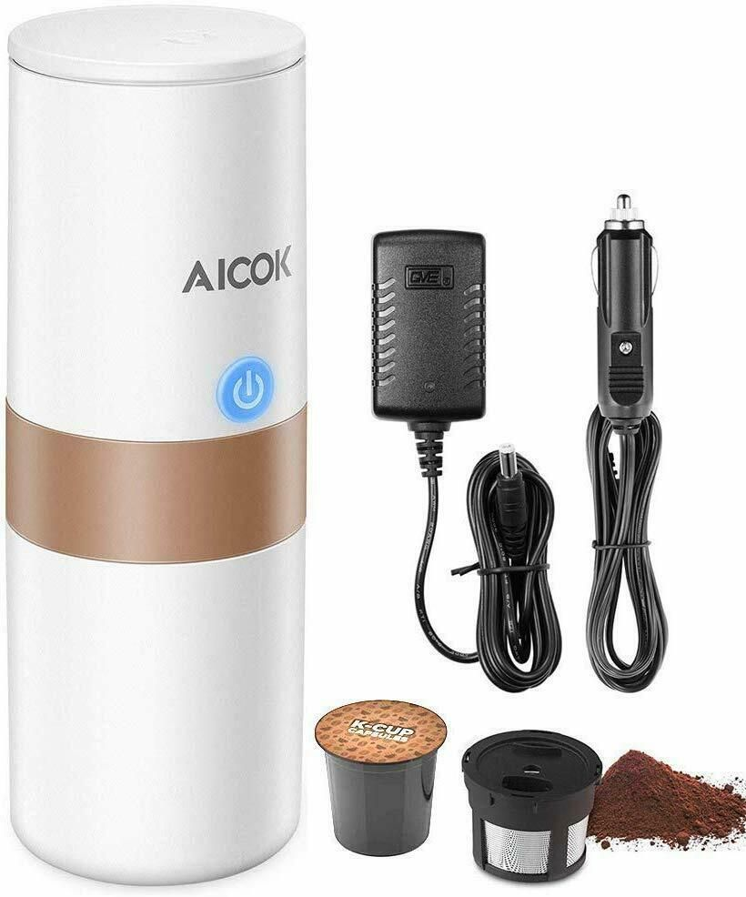 Aicok portable coffee maker stainless steel 2 in 1 single