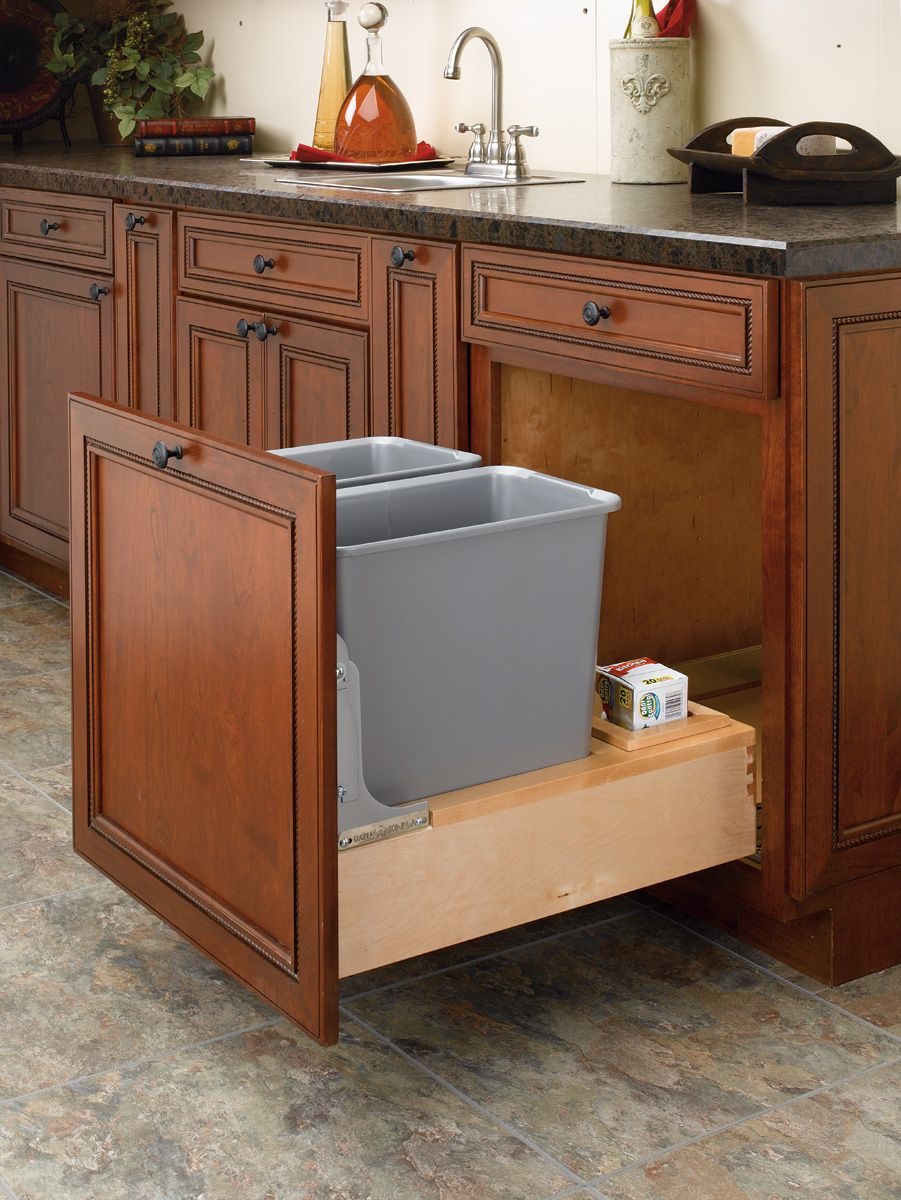 Cabinet Accessories For Trash Recycling With Images Trash Can Cabinet Rev A Shelf Wood Waste
