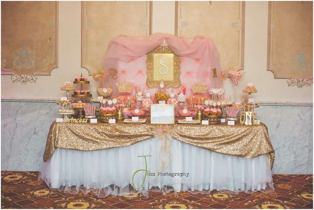 Pink And Gold Princess By Treat Me Sweet Candy Buffets Birthday Party Ideas Photo 1 Of 5 Pink And Gold Birthday Party 1st Birthday Princess Birthday Party Desserts