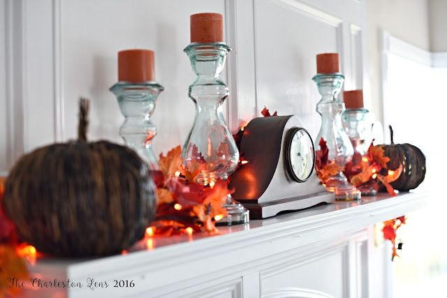 Fall Mantle from The Charleston Lens http://www.thecharlestonlens.com Sources: World Market Michaels Target AntiqueClock