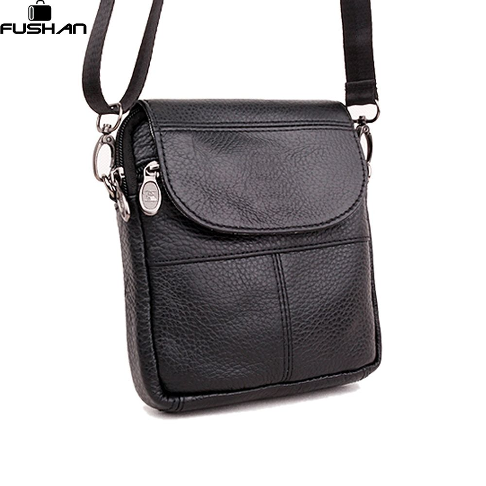Young Fashion The First Layer Of Cow Leather Mini Men Messenger Bag Small Single Shoulder