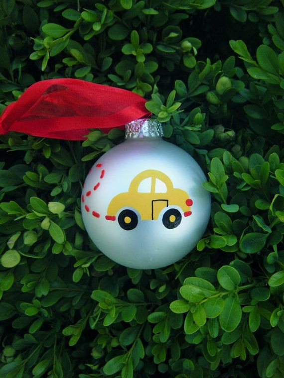 VW Beetle Personalized Christmas Ornament - Hand Painted Yellow Car
