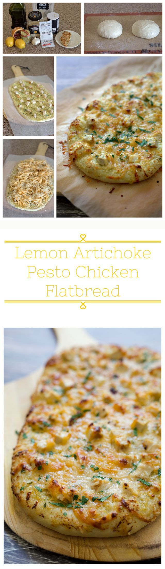 An easy-to-make flatbread topped with a flavorful lemon artichoke pesto, diced grilled chicken and smokey gouda cheese then baked until it's golden brown and gooey, cheesy delicious.