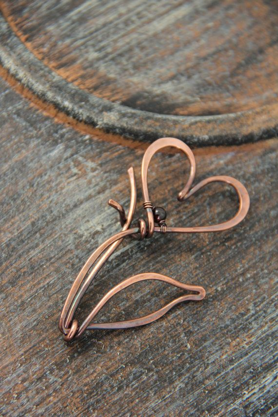 Shawl Pin Copper Wire Scarf or Sweater Pin Fibula Wire Wrapped Jewelry Copper Brooch scarf Sweater Brooch woolen Scarf Pin