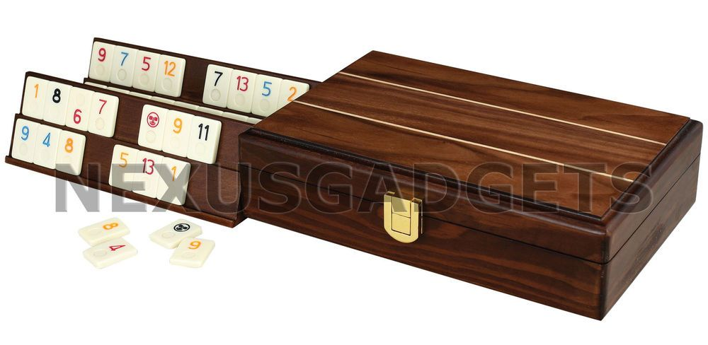 Travel Rummy Rummikub Tiles Board Set Wood Wooden Case Mini Rumi Box Racks