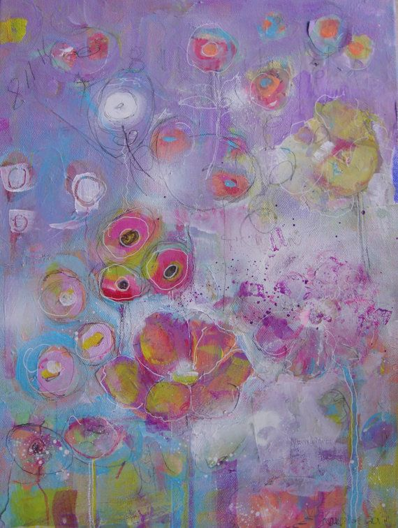 Whimsical+floral+painting+with+floating+flowers+by+BohemianBluArt,+$18.00