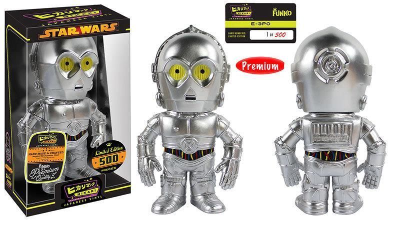 """""""E chu ta!"""" Bring home a technological staple and a distant relative to C-3PO! The rude protocol droid, E-3PO from Cloud City, has its own Hikari figure! E-3PO stands all silver at approximately 8-inches tall in a window collector box. The Star Wars E-3PO Hikari Sofubi Vinyl Figure is a limited edition of only 500 pieces worldwide. Give this 3PO-series protocol droid a fitting home in your collection! #funko #vinyl #toy #actionfigure #collectible #starwars"""