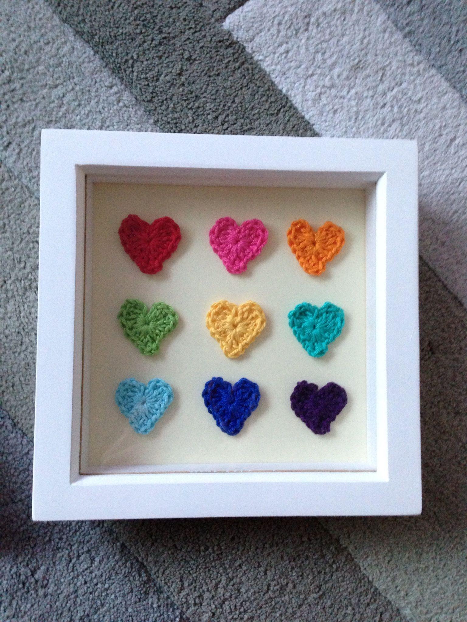 Rainbow crochet hearts in a box frame. | Rainbow crochet | Pinterest ...