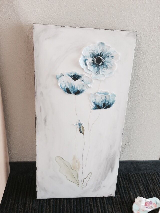 Blue poppies #mixmedia #acrylics #watercolors #poppies #ink #papers