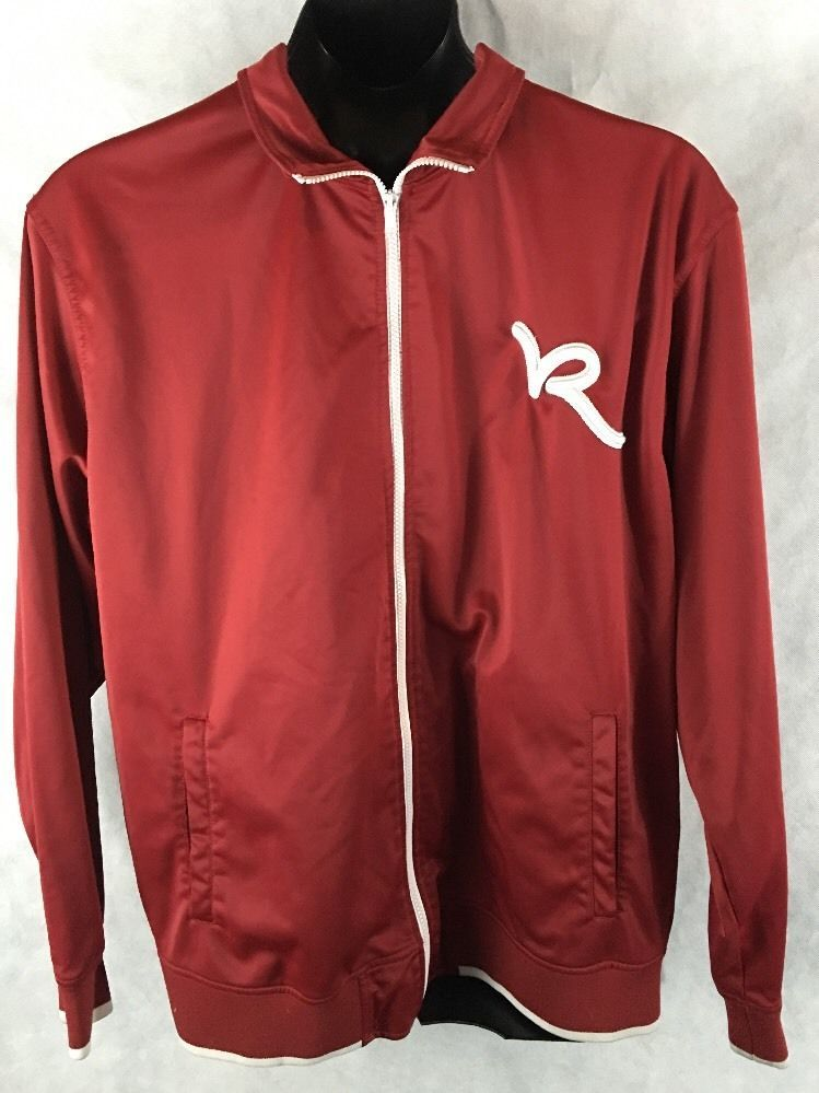 ROCAWEAR Men's 2XL Jacket Red Embroidered Logo Long Sleeved Full Zip Athletic #Rocawear #CoatsJackets