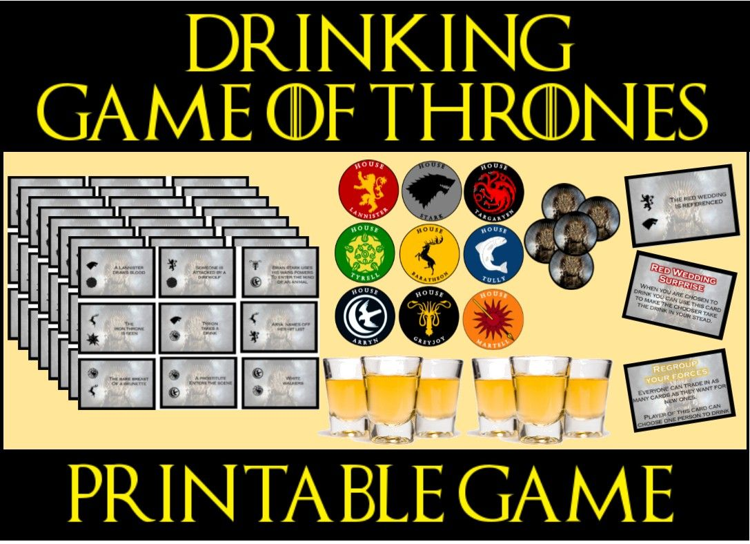 Game of Thrones drinking game a easy to print game that