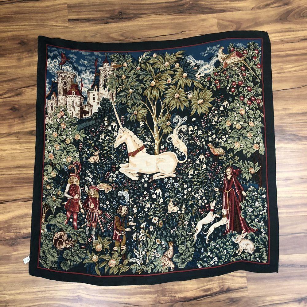b8033a9e50d8 Echo Unicorn Hunt Tapestry Print Square Scarf 100% Silk Green  ECHO  Scarf