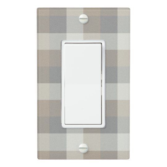 Tan, Gray, and Ivory Plaid Light Switch Cover | This neutral plaid wall plate in shades of tan, grey, and ivory will add a cozy touch to you rustic home decor.