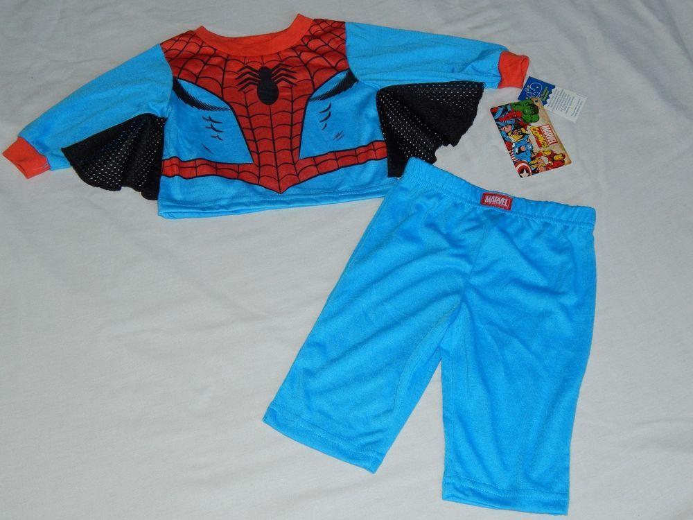 Spiderman 2pc Sleep Set Boys Infant Sizes Shirt Pants Marvel Comics Pajamas PJs…