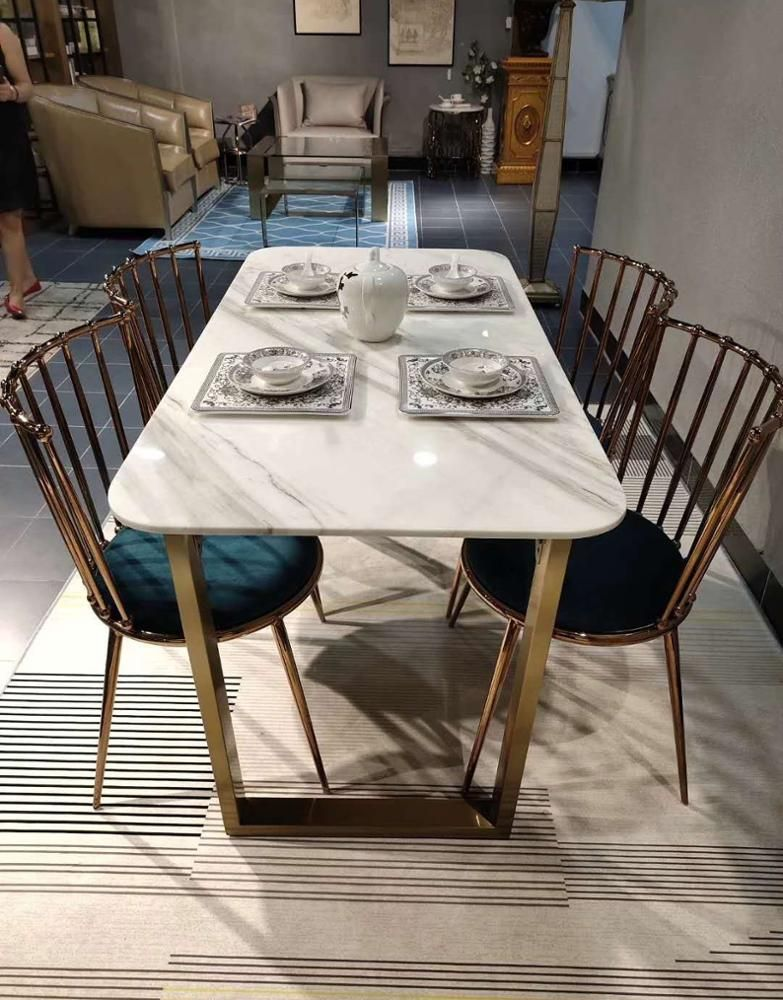Morden Design Stainless Steel Frame Marble Dining Table For 4 6 Peoples View Aritifical Marble Tabletop Dining Table Mr Product Details From Shenzhen Mr Furni Dining Table Design Modern Marble Dining Dining Table