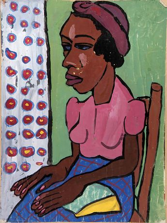"""Seated Woman in Pink Blouse,"" ca. 1939-1940, William H. Johnson, tempera on paper mounted on paperboard, sheet: 24 x 17 7/8 in. (61.0 x 45.5 cm), Smithsonian American Art Museum, Gift of the Harmon Foundation, 1967.59.291"